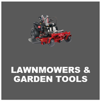 lawnmowers and garden tools
